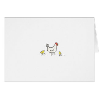 White Hen With 2 Chicks Card