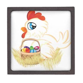 White Hen with Easter Eggs Basket Keepsake Box