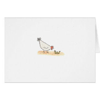 White Hen With Worm Card