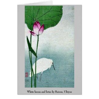 White heron and lotus by Baison, Ukiyoe Card