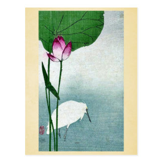 White heron and lotus by Baison, Ukiyoe Post Card