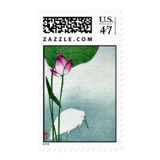 White heron and lotus by Baison, Ukiyoe Postage