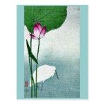 White heron and lotus by Baison, Ukiyoe Postcard