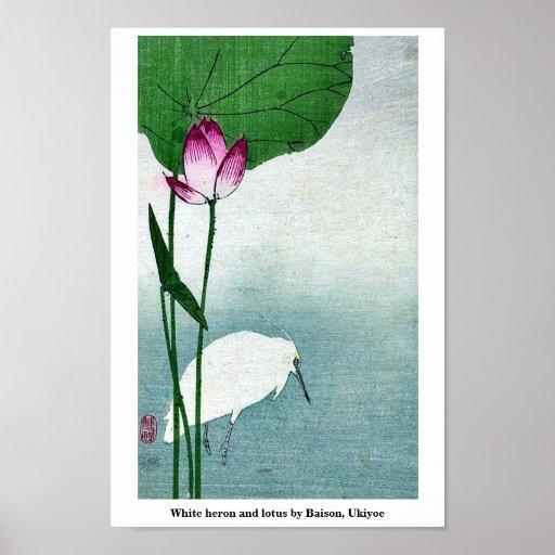 White heron and lotus by Baison, Ukiyoe Posters