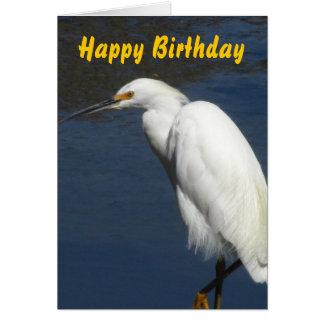 White Heron Happy Birthday Card