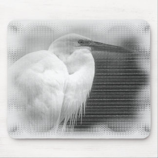 White Heron Mouse Pad