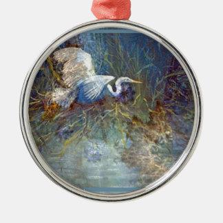 white heron round metal christmas ornament