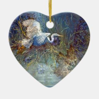 white heron Double-Sided heart ceramic christmas ornament