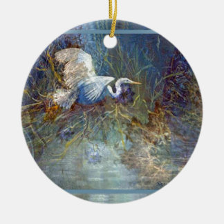 white heron Double-Sided ceramic round christmas ornament