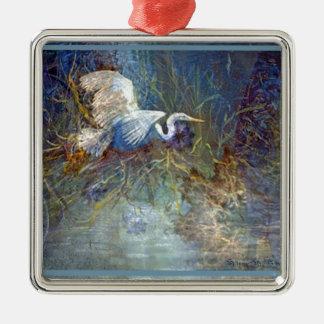 white heron square metal christmas ornament