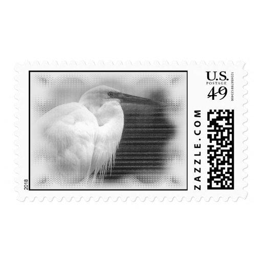 White Heron Stamp