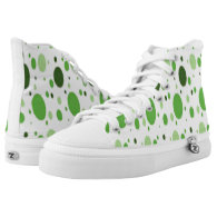 white hi tops green some black dots custom