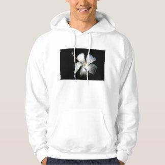 White hibiscus against black.jpg hooded pullover