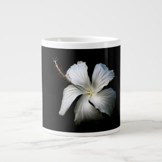 White hibiscus against black.jpg large coffee mug