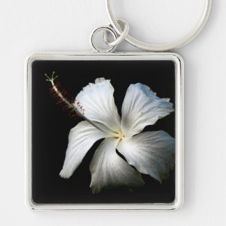 White hibiscus against black.jpg Silver-Colored square keychain