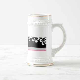 White hibiscus and Black Background Hawaii gifts Beer Stein