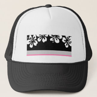 White hibiscus and Black Background Hawaii gifts Trucker Hat
