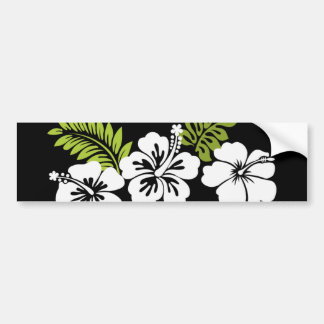 White hibiscus and leaves car bumper sticker