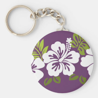White hibiscus and leaves keychain