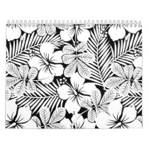 White hibiscus and palm leaves calendar
