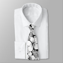 White hibiscus and palm leaves neck tie