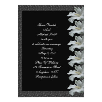 "White Hibiscus Flower Black Wedding Invite 5"" X 7"" Invitation Card"