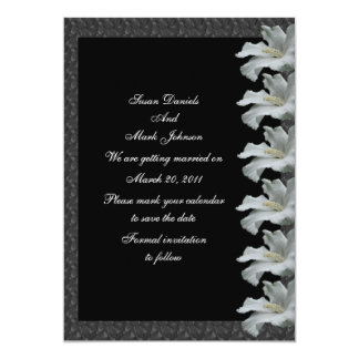 White Hibiscus Flower Black Wedding Save The Date Custom Invitations