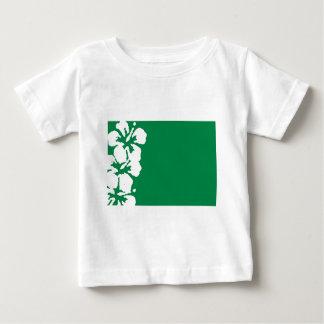 White Hibiscus Flowers on Emerald Green Baby T-Shirt