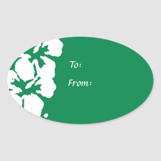 White Hibiscus Flowers on Emerald Green Oval Sticker