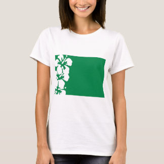 White Hibiscus Flowers on Emerald Green T-Shirt