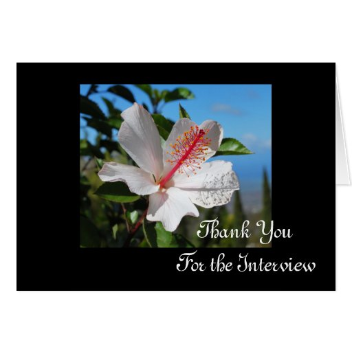 White Hibiscus Interview Thank You Card