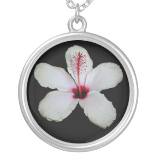 White Hibiscus Isolated on Black Background Silver Plated Necklace