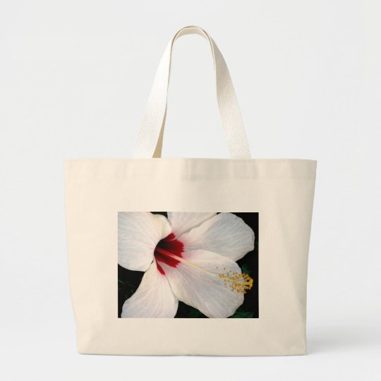 White Hibiscus Large Tote Bag