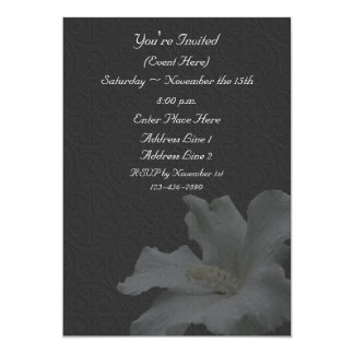 White Hibiscus On Black Floral Invitation