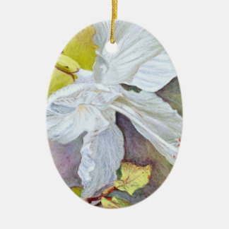 White Hibiscus Pastel Painting Ceramic Ornament