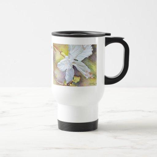 White Hibiscus Pastel Painting 15 Oz Stainless Steel Travel Mug