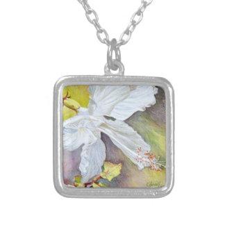 White Hibiscus Pastel Painting Necklaces