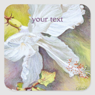 White Hibiscus Pastel Painting Square Sticker
