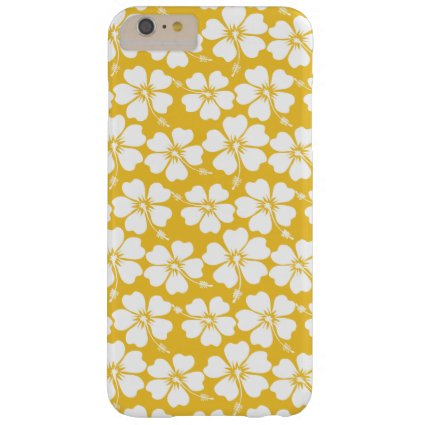 White Hibiscus Pattern on Saffron Barely There iPhone 6 Plus Case