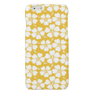 White Hibiscus Pattern on Saffron Glossy iPhone 6 Case