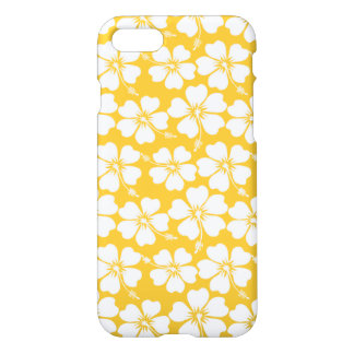 White Hibiscus Pattern on Saffron iPhone 7 Case