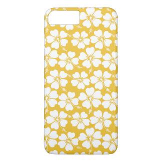 White Hibiscus Pattern on Saffron iPhone 7 Plus Case