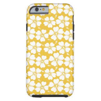 White Hibiscus Pattern on Saffron Tough iPhone 6 Case