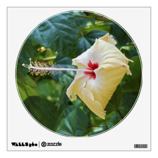 White Hibiscus Rosa Sinensis China Rose Mallow Wall Decal