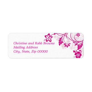 white hibiscus swirls ~ mailing label