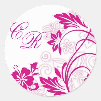white hibiscus swirls ~ sticker (initial)