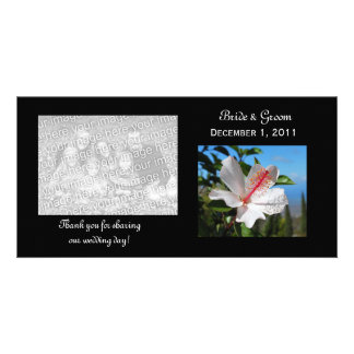White Hibiscus Thank You Photo Cards