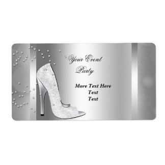 White High Heel Shoes Silver Event Party Label