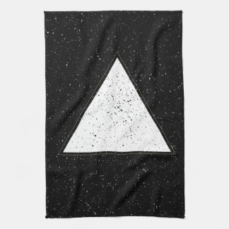White hipster space triangle black background hand towels
