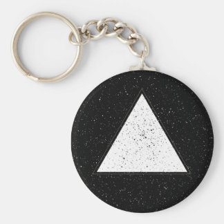 White hipster space triangle black background keychain